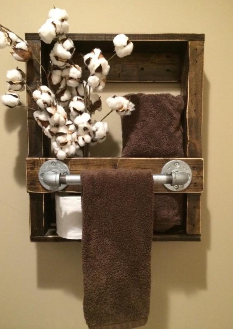 Janelle Rustic Industrial Pipe 1/2 Bath Towel Rack 17W X 5D X image 0