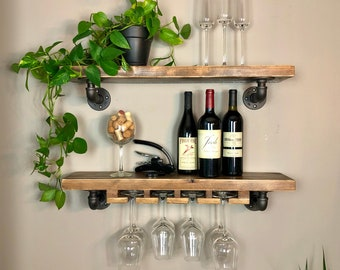 Wine Shelf Combination / Industrial Home Bar / Beverage Bar / Purchase Pair and Save