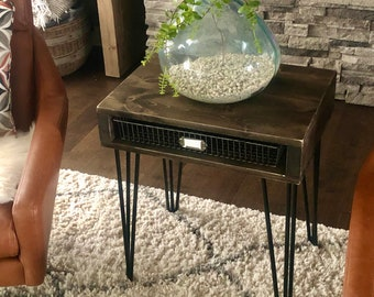 Kimberly Modern End Table // Metal Hairpin Leg End Table // Wooden End Table // Living Room // Bedroom