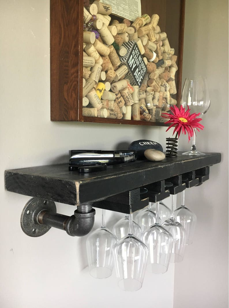 Busing Stemware Shelf // Solid Wood Shelf // Modern Rustic // image 0