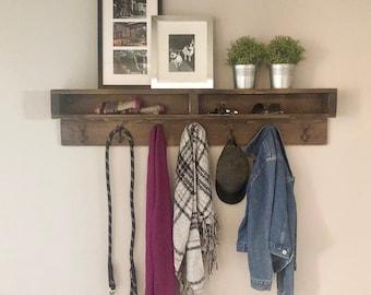 Natalie Wood Rustic Industrial Coat Hook Coat Rack/Shelf Combo 46W X 5.5D X 10H