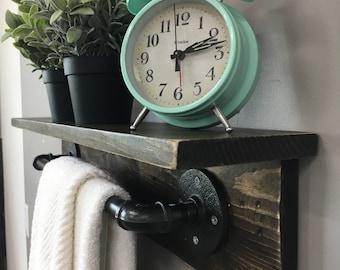 Tucker Industrial Pipe Towel Rack//Rustic Wooden Pipe Towel Rack-Shelf//Modern Rustic Bath Towel Rack//Modern Rustic Kitchen Towel Rack