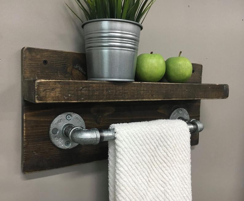 Michael Industrial Rustic Wood Bath Towel Rack / Dk Walnut/Slvr Pipe