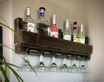 Shari Margarita & Wine Bar Shelf  / Margarita Bar Shelf / Wine Shelf Storage /Margarita Shelf Storage/ Margarita glasses shelf/ Wide stem
