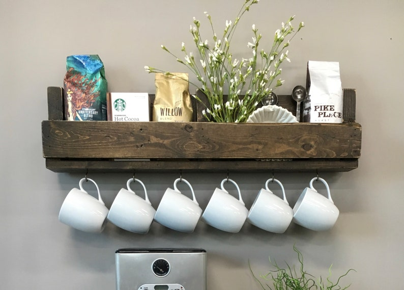 READY TO SHIP now. Shari Coffee Bar Shelf with Small Cup Hooks image 0