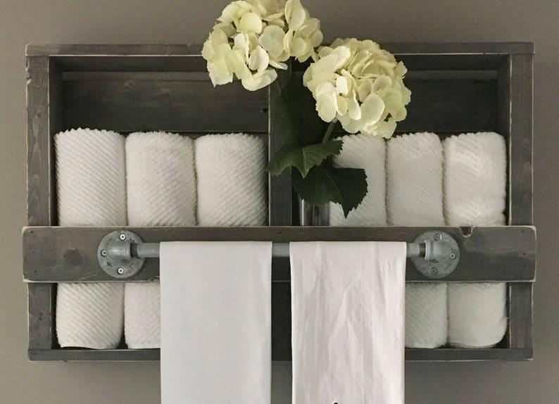 Lorelei Wood Industrial Bath Towel Rack 29W X 5D X 19H image 0