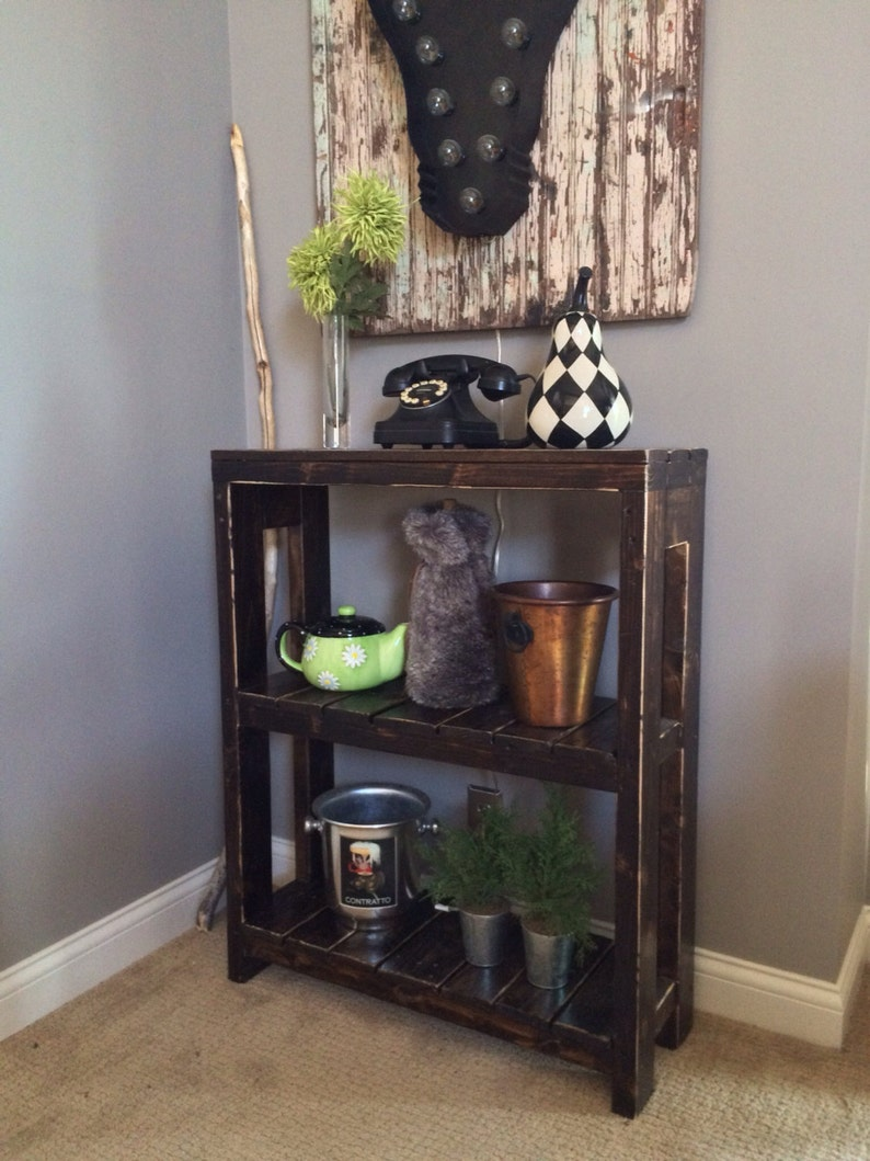 Annie Rustic Wood Bookcase rustic wood foyer table coffee image 0
