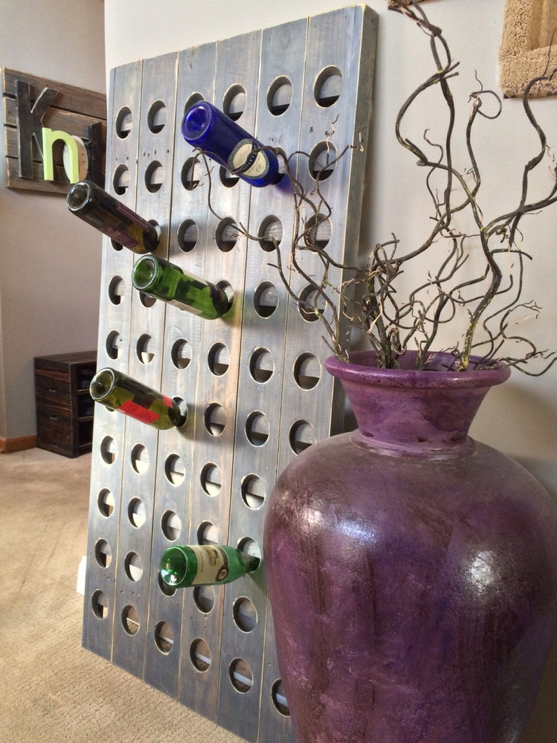 Samantha 60 Bottle Wood Riddling Wine Rack Panel  56H x 29W x image 0