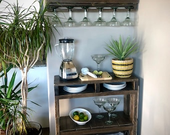 Margarita Bar Table and Shelf Combination / Margarita Bar /  Margarita Station /Margarita Storage/ Margarita glasses/ Purchase Pair & Save