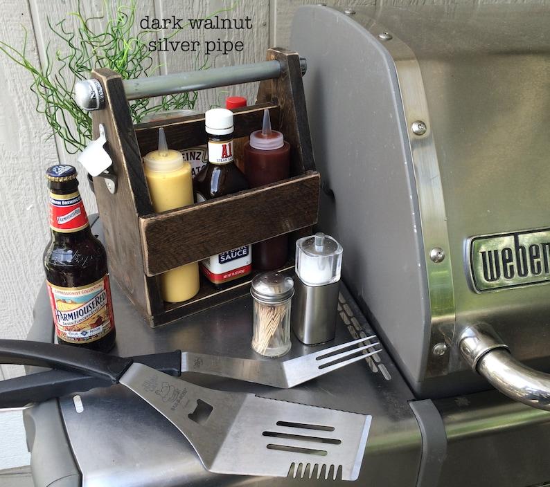 Daddy-O Solid Wood Beverage Caddy // Condiment Caddy // Grill Dark Walnut Brown