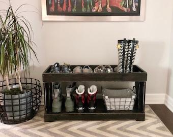 Debbie Double Tier Shoe/Boot Tray // Shoe Storage // Boot Storage // Rustic Wooden Shoe Storage