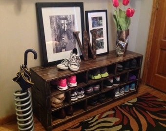 Jenny Shoe Storage Bench// Shoe Rack // Boot Storage bench // Entryway bench // Foyer Mud Room Garage // Shoe Cubby// Passage Design