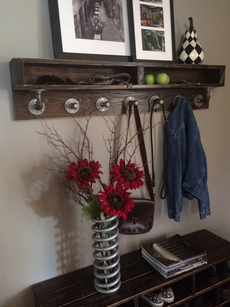 Naomi Wood Rustic Industrial Pipe Coat Rack/Shelf Combo 46W X image 0