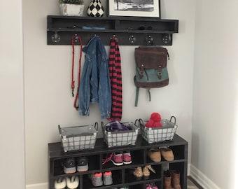 Shoe Bench/Mud Room Shoe Bench/Entryway Shoe Bench/Jenny Shoe Bench w/Naomi Coat Rack Shelf/Mud Room Storage bench/Purchase Pair & Save!