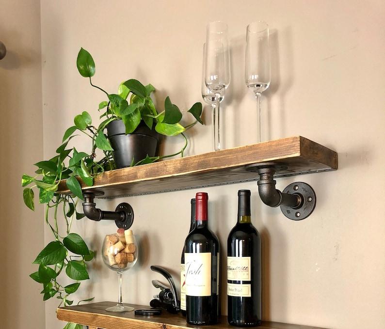 Georgie Wood/Industrial Pipe Floating Shelf Floating shelf Early Amer/brnz pipe
