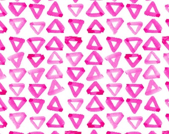 Hot Pink Triangles Pillow Cover