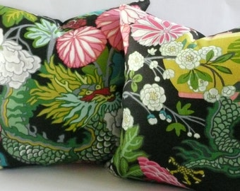 Pair of Schumacher Chiang Mai Dragon Pillow Covers in Ebony