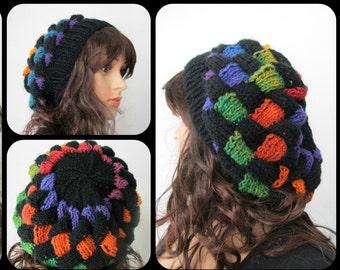 Rainbow, Black, Super Slouch, Hat, Tam, Dreads