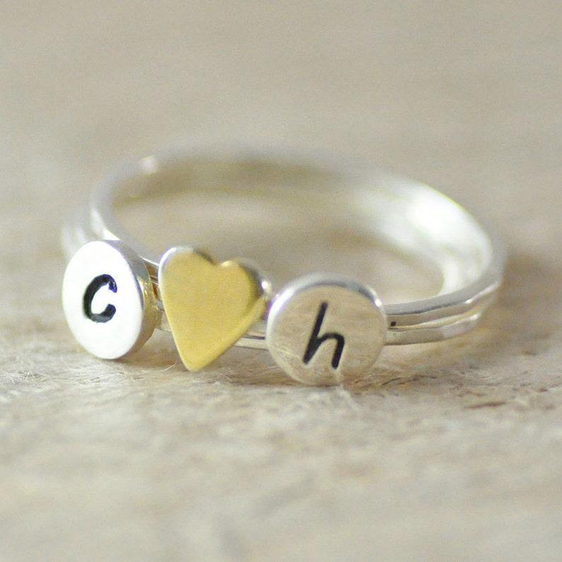 81de2bc6f680 Apilar las iniciales anillo 925 mano de plata de ley anillo
