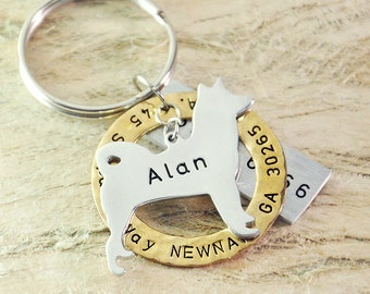 Akita dog tag personalized  dog tag 3 piece Pet tag Pet Id Tag Hand stamped  custom Made with your Pets Name/phone number