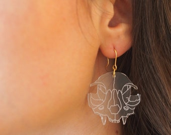 Cat Skull earrings. Plexiglas cut and laser engraved.