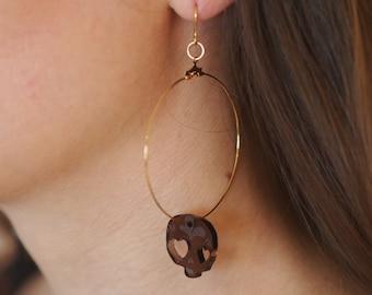 Creole earrings (large), Calavera, smoked version. Laser-engraved Plexiglas.