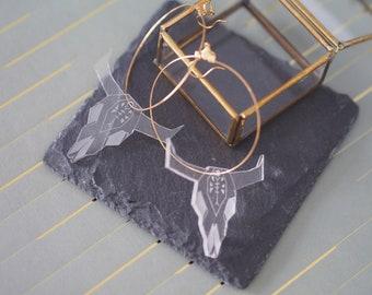 Creole earrings (large), Buffalo. Laser-engraved Plexiglas.