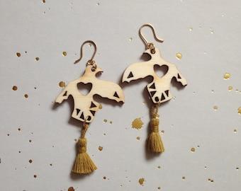 Phoenix earrings. Laser-cut wood and pompom.