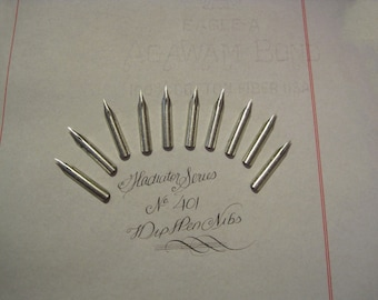 Lot of 10  Dip Pen Nibs for Calligraphy or Spencerian writing -- Gladiator No. 401 -- Fine with Flex