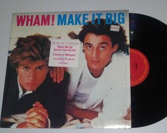 80s Wham Make It Big vinyl George Michael Wake Me Up Before You Go-Go CBS Records shrink wrap hype sticker LP album pop dance hit