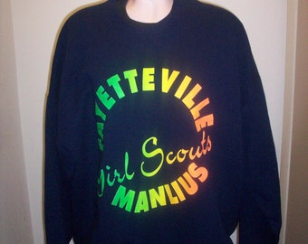 3774ab449 Girl Scouts sweatshirt Fayetteville Manlius XXL rainbow USA Velva Sheen  blue 50   50 ny fm New York new 90s NWT