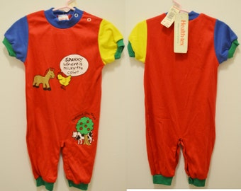 60aca25d5 NWT 80s Health Tex bodysuit horsie cow 12M baby chick new healthtex outfit  animals colors primary red