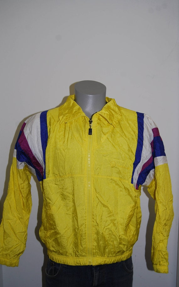 80s Sergio Tacchini windbreaker jacket L yellow zip up designer Italy running sports jacket 90s running track windrunner