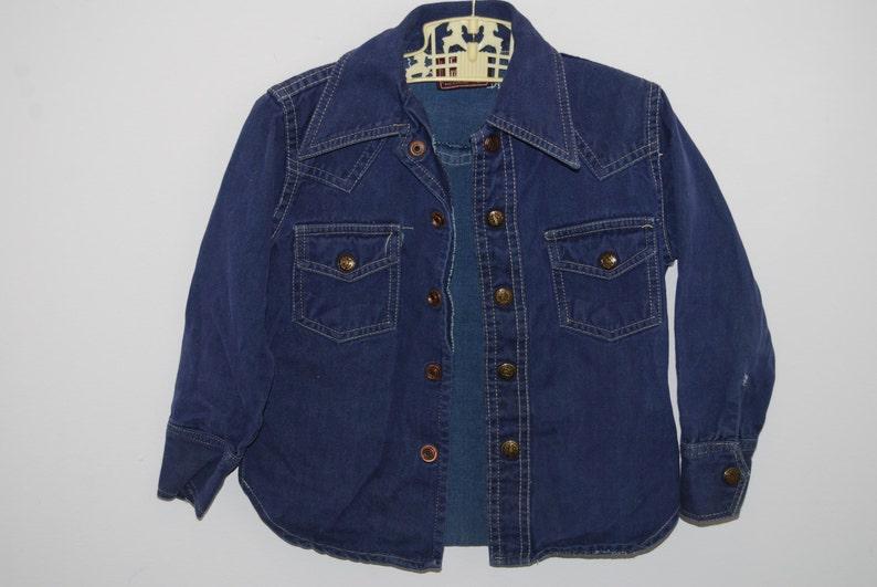 21cbeee43ea2f 80s kids denim shirt jacket size 5 blue toddler vintage jean