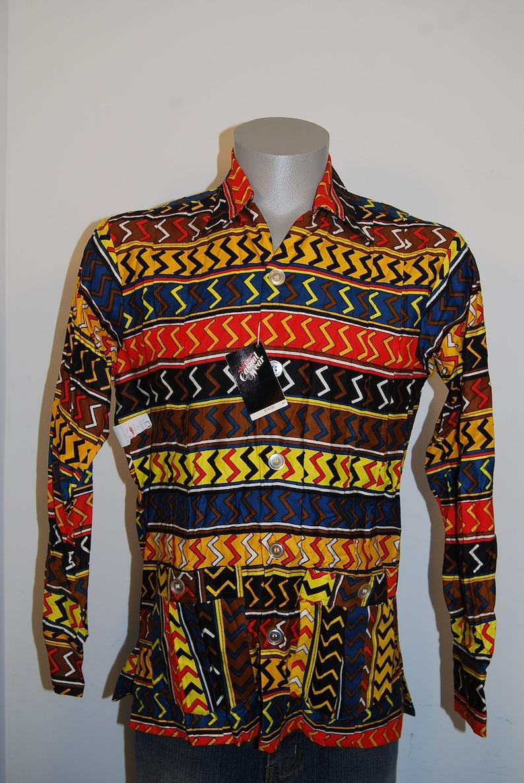 70s DEADSTOCK Arrow M loud camp shirt vtg Kent Collection stripes pleated orange ahola bold loud long sleeve NOS