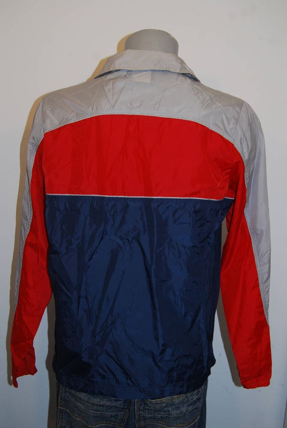 80s Nike windbreaker jacket medium gray red blue half zip pullover basketball sports jacket 90s running track windrunner