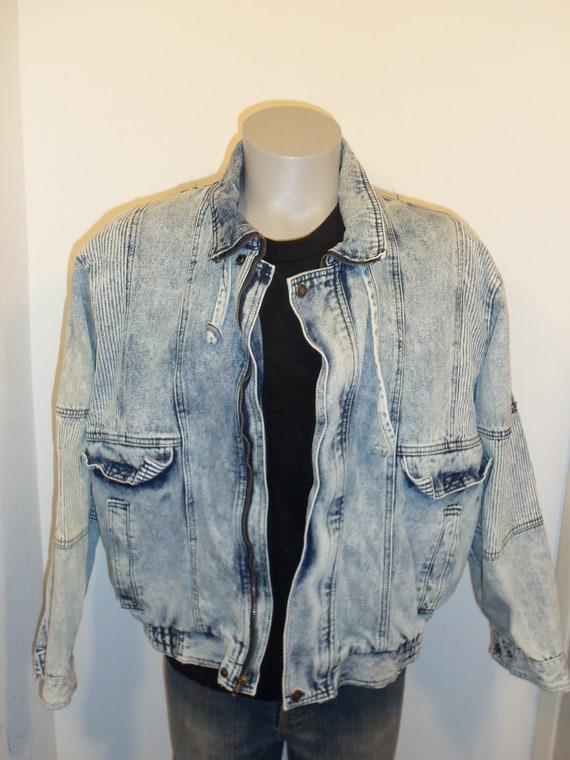 80s acid wash denim jean jacket mens blue white size L zip up Horizon oversized drawstring