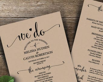 Wedding Program PDF card template, instant download editable printable, Ceremony order card in calligraphy rustic theme (TED340_9)
