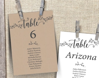 Wedding Guest Seating Chart Template, Table No card, Head Table card, editable pdf, Wedding Seating plan, in rustic kraft theme (TED418_14)