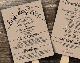 Wedding fan template | Etsy