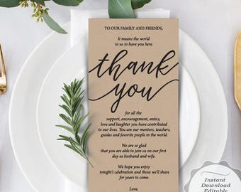 wedding place setting thank you card instant download etsy