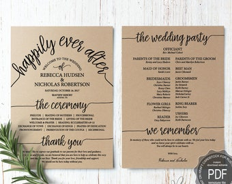 Wedding Program PDF card template, instant download editable printable, Ceremony order card in typography rustic theme (TED410_12)