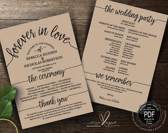 wedding program pdf card template instant download editable etsy