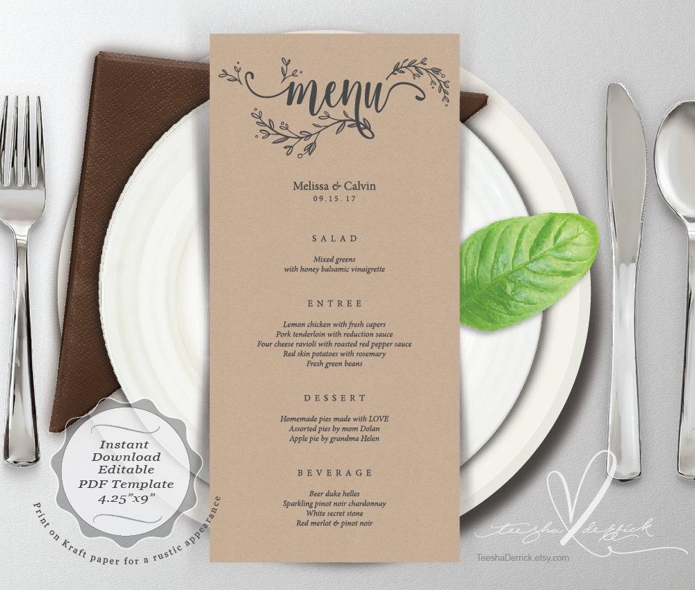 wedding menu card pdf editable template instant download. Black Bedroom Furniture Sets. Home Design Ideas