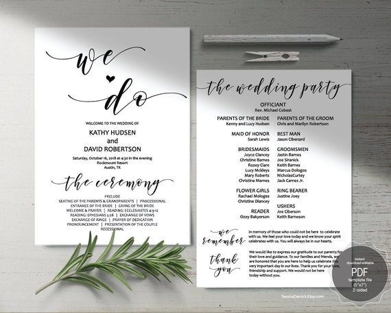 we do wedding program pdf card template instant download etsy