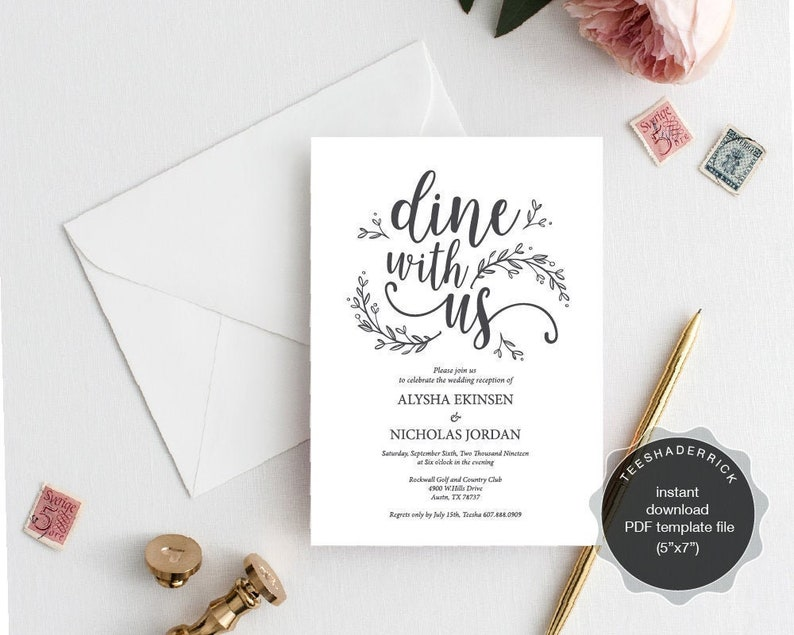 Wedding Reception Dinner Invitation Card Template Instant Pdf File Rehearsal Dine With Us Kraft Rustic Botanical Vines Ted418f 3