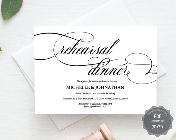 Wedding Rehearsal Dinner Invitation cardeditable Etsy