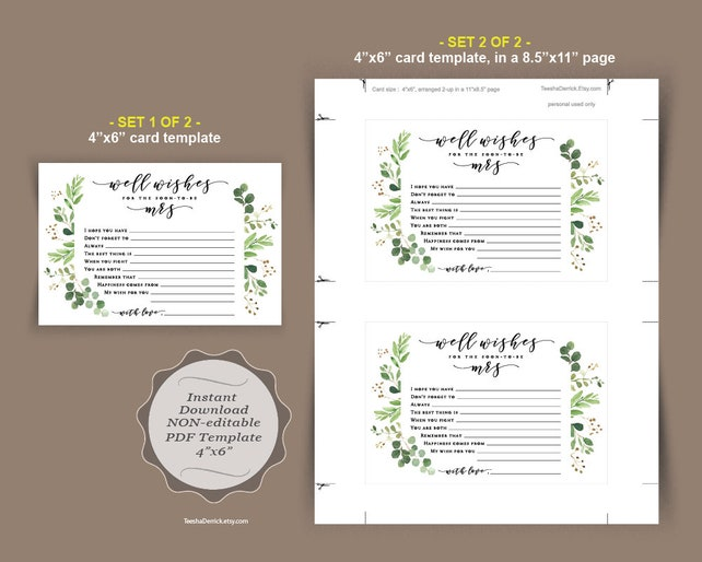 Well Wishes For The Soon To Be Mrs Card Template Instant Download