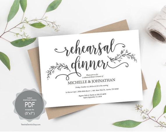 Wedding Rehearsal Dinner Invitation Card Pdf Editable Template The Night Before Our Special Day Rustic Floral Botanic Design Ted418 43