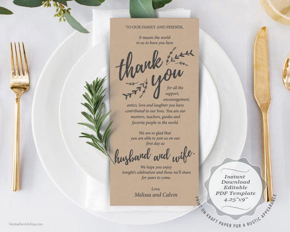 Pport Po Template   Wedding Place Setting Thank You Card Instant Download Etsy